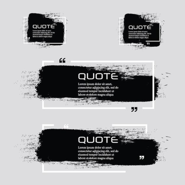 Citaat box frame, grote set. citaat vak pictogram. tekstvakjes voor sms'en lege grunge-borstelachtergrond. Premium Vector