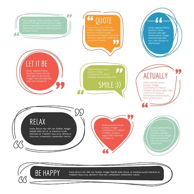 Citeer frames. tekstblog kleurrijke informatieblokken kleverige etiketten voor webpagina's sjablonen. illustratie toespraak citaat, blog tekst frame commentaar Premium Vector