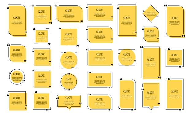 Citeer tekstballon. komma's, notitie, bericht en opmerking. illustratie. Premium Vector