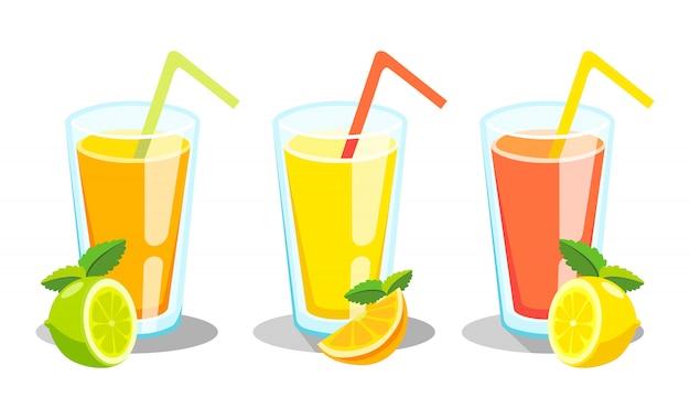 Citroen en limoen limonade. limonade groene illustratie Gratis Vector