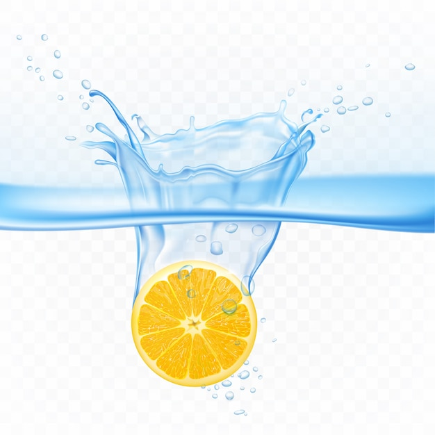 Citroen in waterplons explosie geïsoleerd op transparant. citrusvruchten onder aquaoppervlakte met rond luchtbellen. ontwerpelement voor sapdrank reclame realistische 3d vectorillustratie Gratis Vector