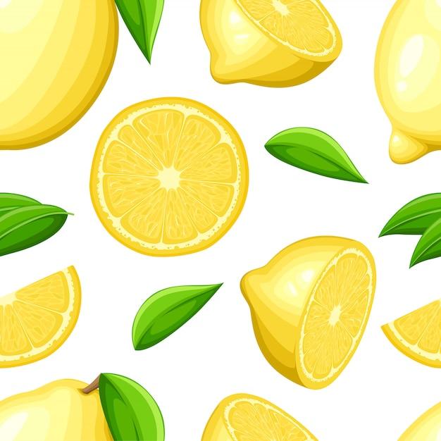 Citroen met hele bladeren en plakjes citroenen. naadloze illustratie. illustratie voor decoratieve poster, embleem natuurlijk product, boerenmarkt. Premium Vector