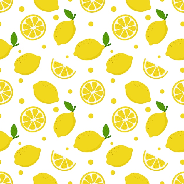 Citroen plakjes naadloze patroon op wit. fruit citrus Premium Vector