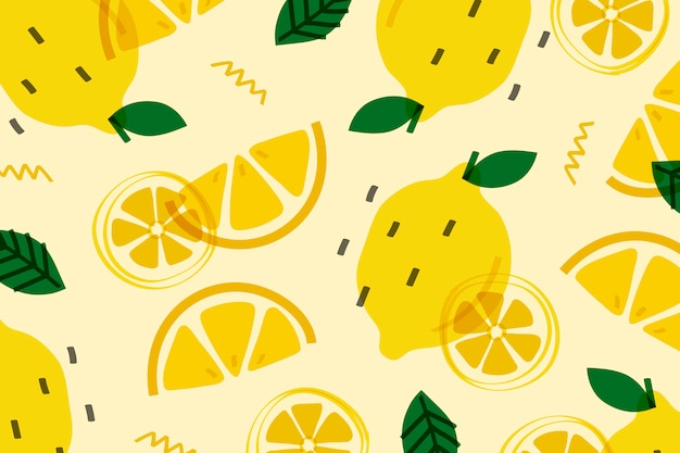 Citroenfruit memphis-stijl Gratis Vector