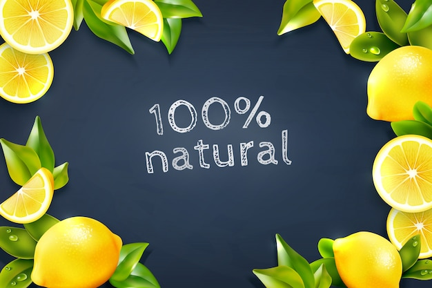 Citrus lemon frame blackboard background poster Gratis Vector