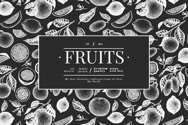 Citrus sjabloon. hand getekend fruit illustratie op schoolbord. gegraveerde stijlbanner. vintage citrus frame. Premium Vector