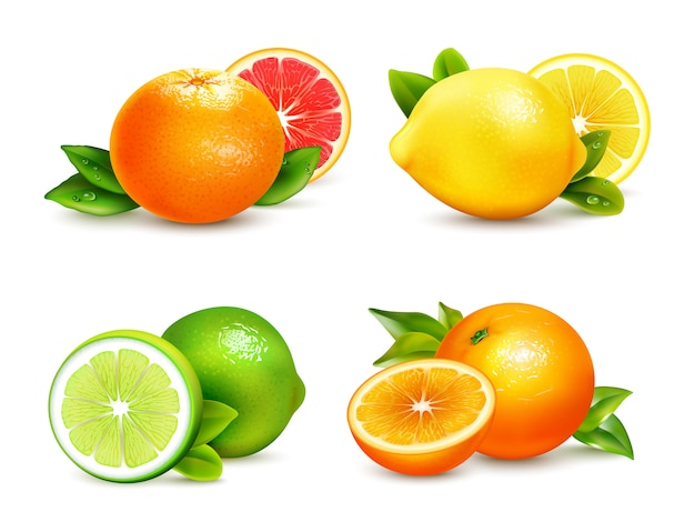 Citrusvruchten 4 realistische icons set Gratis Vector