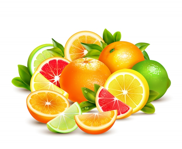 Citrusvruchten collection realistische samenstelling Gratis Vector