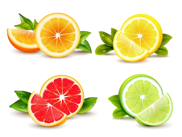 Citrusvruchten helften en kwart wiggen 4 realistische pictogrammen vierkant met oranje grapefruit citroen isolat Gratis Vector
