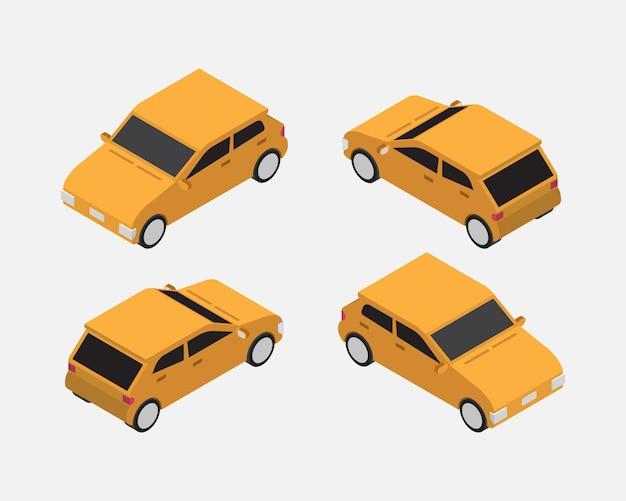 City car isometric classic vector Premium Vector