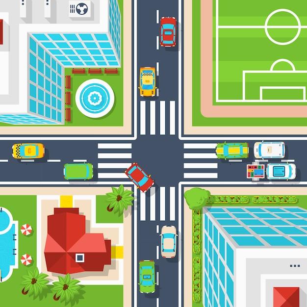 City crossroad bovenaanzicht Gratis Vector