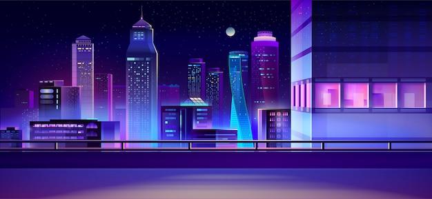City nacht skyline cartoon achtergrond Gratis Vector