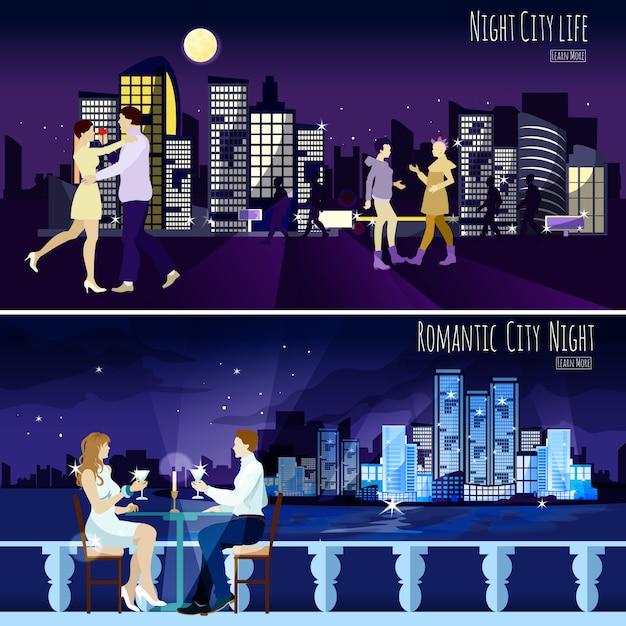 City nightscape background banners set Gratis Vector