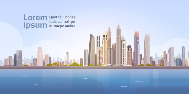 City skyscraper view cityscape achtergrond skyline met kopie ruimte Premium Vector