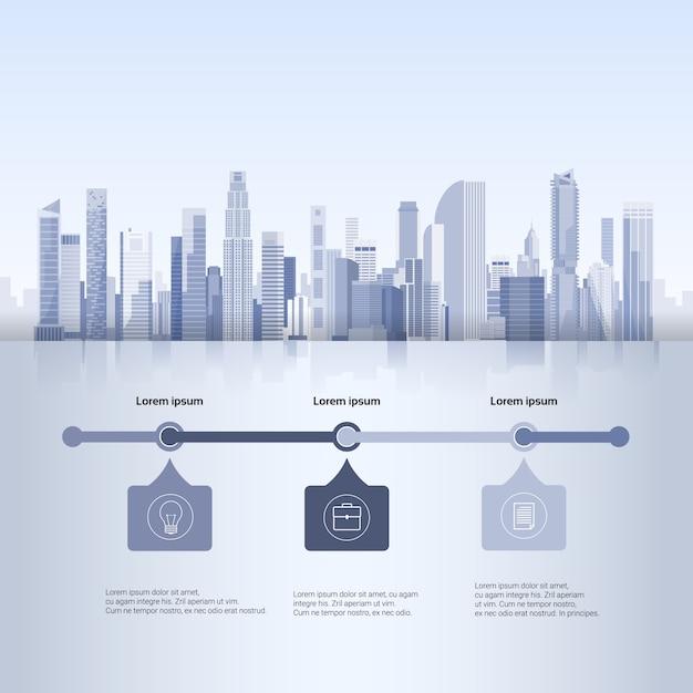 City skyscraper view cityscape achtergrond skyline silhouette met kopie ruimte infographics Premium Vector