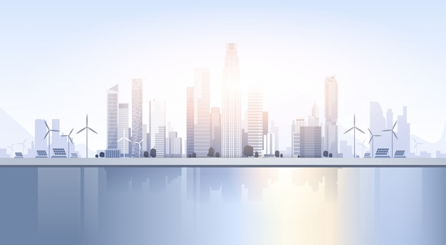 City skyscraper view cityscape achtergrond skyline silhouette met kopie ruimte Premium Vector