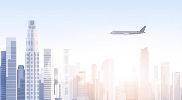 City skyscraper view cityscape flying plane skyline silhouette met kopie ruimte infographics Premium Vector