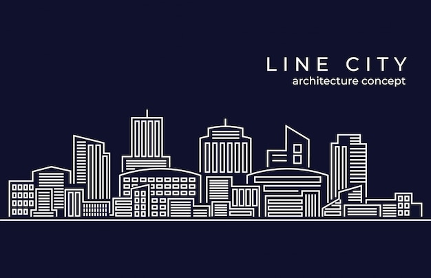 Cityscape building line vector illustration Premium Vector