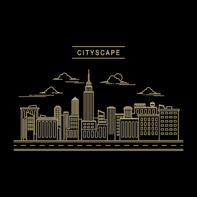 Cityscape ontwerp vector lijn kunststijl Premium Vector