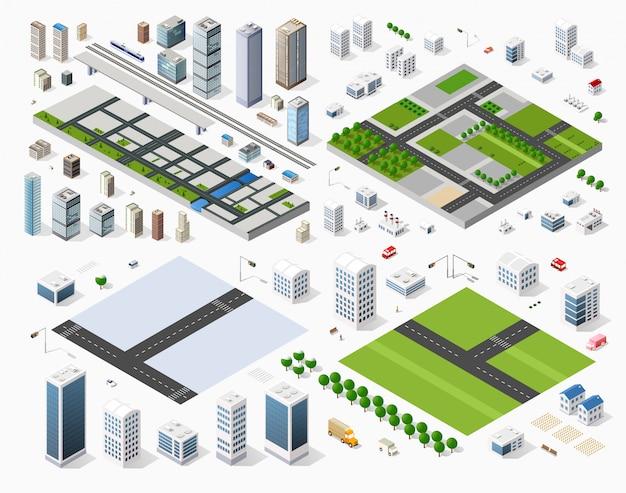 Cityscape ontwerpelementen Premium Vector