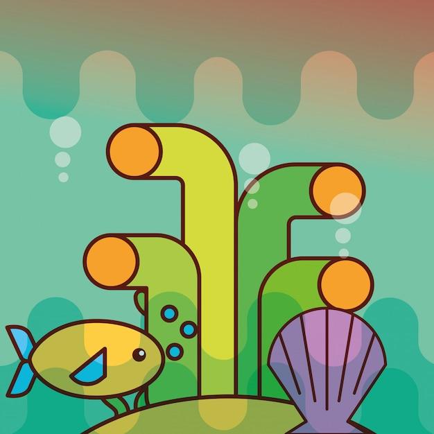 Clam vis koraal zee leven cartoon Premium Vector