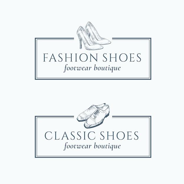Classic fashion shoes footwear boutique-logo Premium Vector