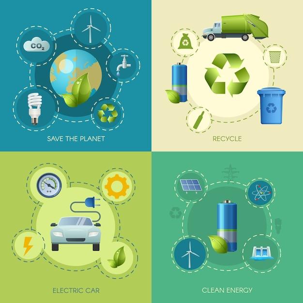 Clean energy square-samenstelling Premium Vector