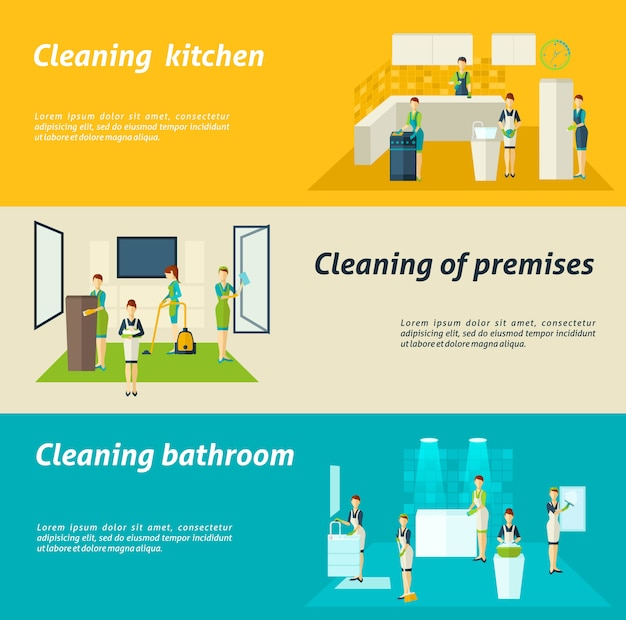 Cleaning in rooms flat banners set Gratis Vector