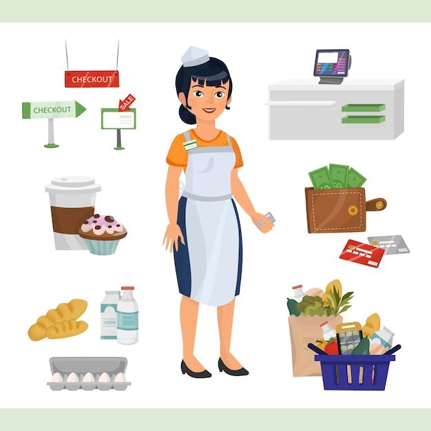 Clipart illustratie met aziatische vrouw als kassier teller Premium Vector