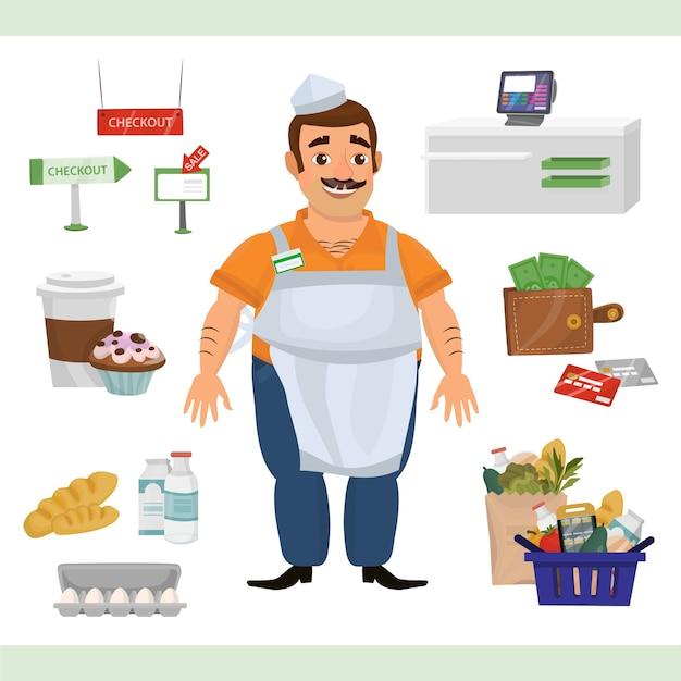Clipart illustratie met man als kassier teller en supermarkt objecten Premium Vector