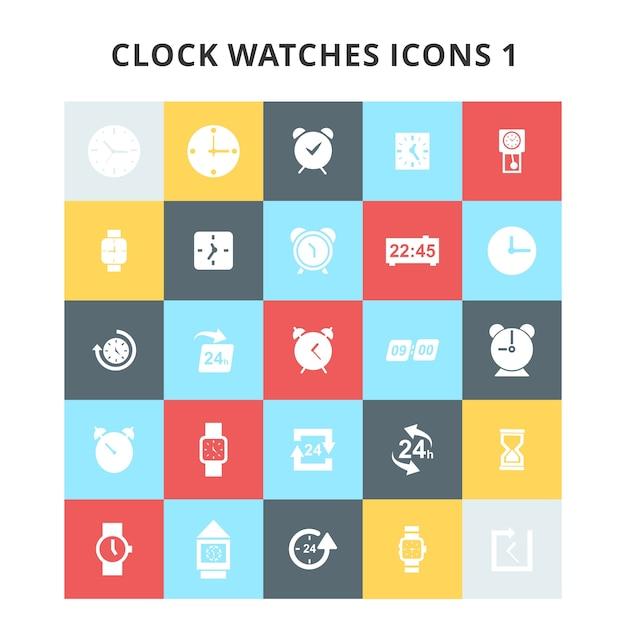 Clock watches pictogrammen instellen Gratis Vector