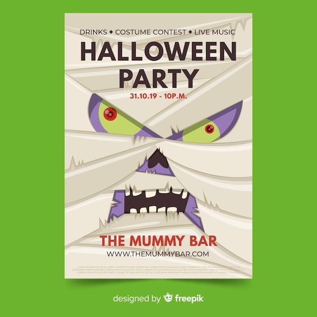 Close-up mummie gezicht halloween partij folder sjabloon Gratis Vector
