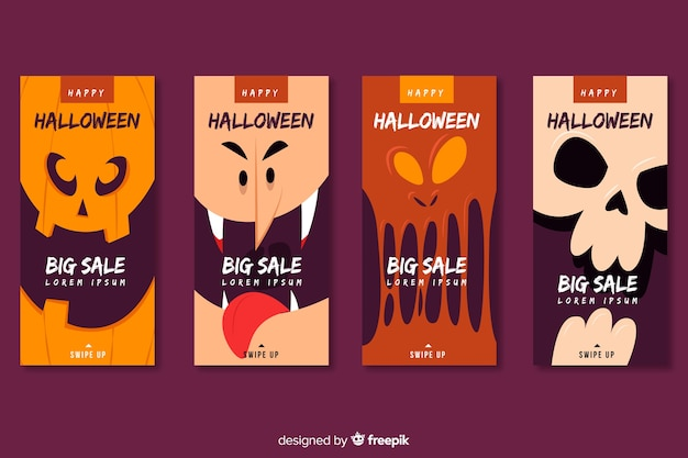 Close-upgezichten van halloween-monsters voor instagram-verhalen Gratis Vector