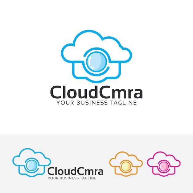 Cloud camera logo sjabloon Premium Vector