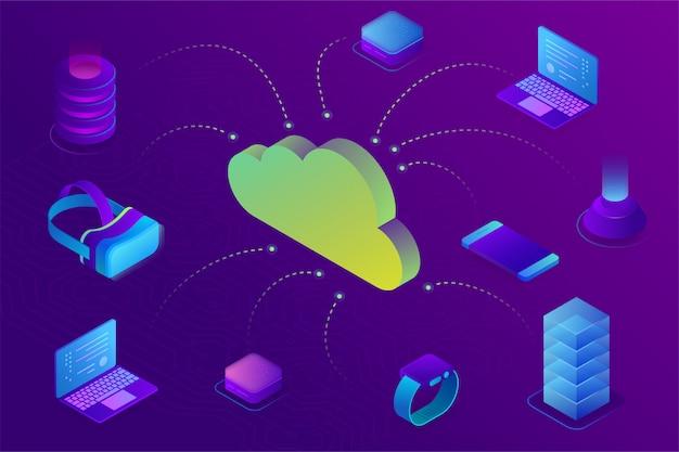 Cloud computing-apparaat technologie concept. cloudgegevensopslag verbonden met apparaten. isometrisch Premium Vector