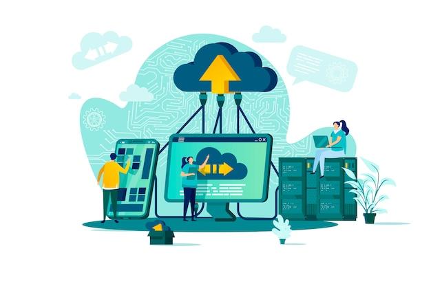 Cloud computing-concept in stijl met personenpersonages in situatie Premium Vector