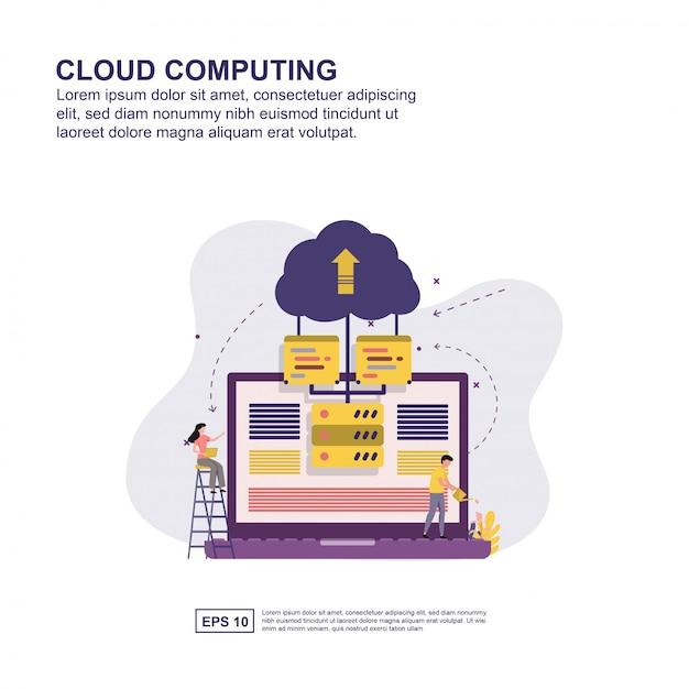 Cloud computing concept vector illustratie plat ontwerp. Premium Vector
