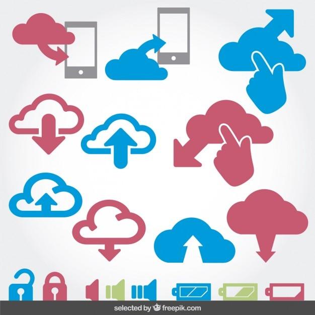 Cloud computing en batery pictogrammen instellen Gratis Vector
