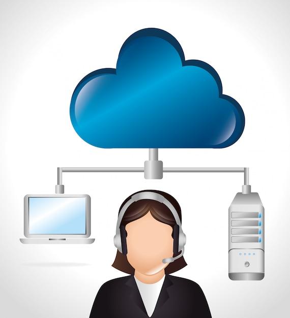 Cloud computing en hosting Gratis Vector