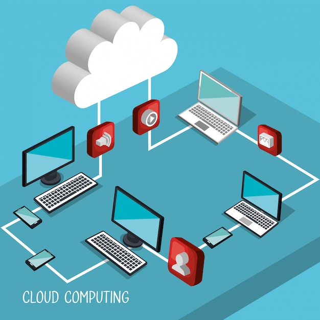 Cloud computing illustratie Gratis Vector