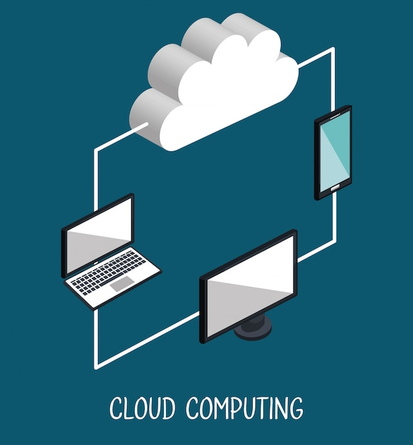 Cloud computing illustratie Gratis Vector