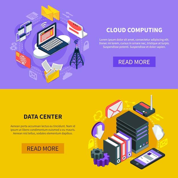 Cloud computing isometrische banners Gratis Vector
