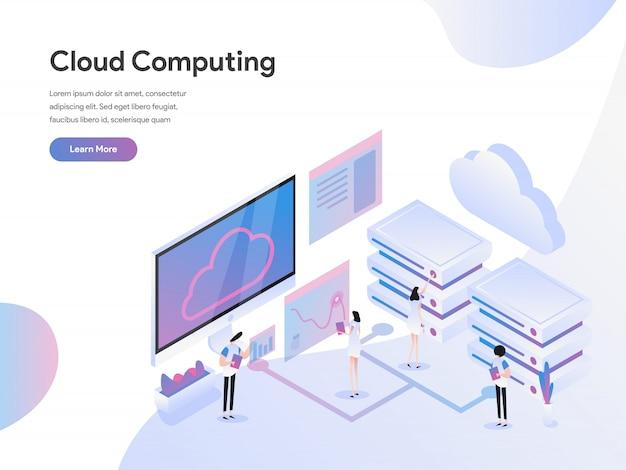 Cloud computing isometrische illustratie concept Premium Vector
