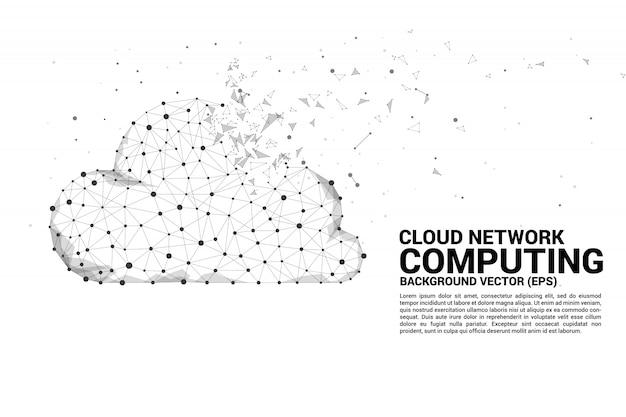 Cloud computing netwerkconcept veelhoek stip verbonden lijn. Premium Vector