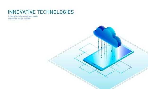 Cloud computing online opslag isometrische smartphone. big data-informatie toekomstige moderne internetbedrijfstechnologie. blauwe gloeiende globale beschikbare dossieruitwisseling illustratie als achtergrond Premium Vector