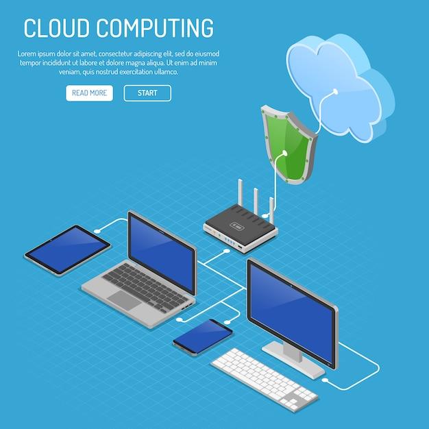 Cloud computing-technologie isometrisch Premium Vector