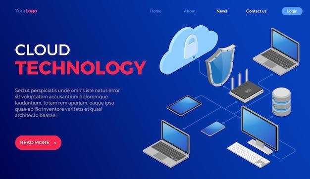 Cloud computing-technologie isometrische concept Premium Vector
