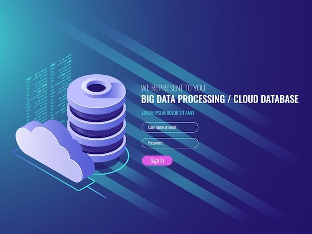 Cloud data-opslagdiensten, database cloud-programmacodepictogrammen Gratis Vector