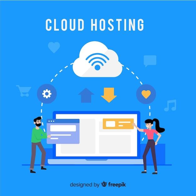 Cloud hosting service achtergrond Gratis Vector