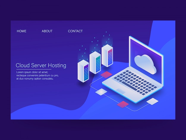 Cloud hosting Premium Vector